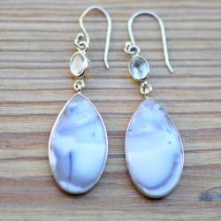 Longues boucles d'oreilles argent duo pierres agate dendrite et cristal de roche