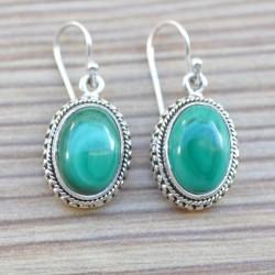 Boucles d'oreilles ovales argent ciselé pierre malachite