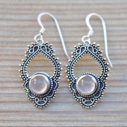 Boucles d'oreilles pierre Quartz rose argent finement ciselé
