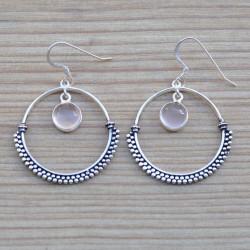 Boucles d'oreilles anneau argent ciselé pierre quartz rose