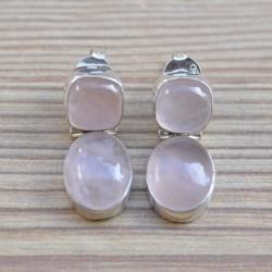 Boucles d'oreilles duo pierres naturelles quartz rose argent