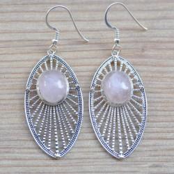 Boucles d'oreilles longues navettes pierre ovale Quartz rose argent ciselé
