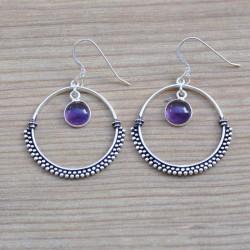 Boucles d'oreilles anneau argent ciselé pierre améthyste