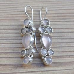 Grandes boucles d'oreilles longues en argent et quartz rose