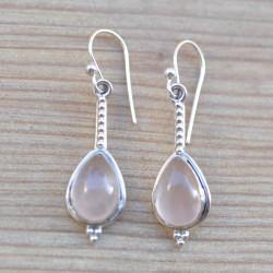 Boucles d'oreilles fines argent travaillé pierre quartz rose