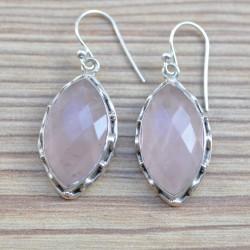 Boucles en forme de navette d'argent et quartz rose