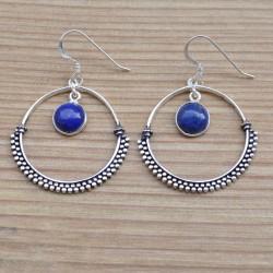 Boucles d'oreilles anneau argent ciselé pierre lapis lazuli