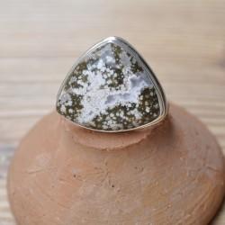 Bague triangle en pierre jaspe océan et argent T52