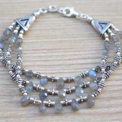 Bracelet argent 3 rangs de pierres et gouttes en labradorite