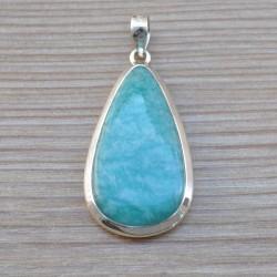 Gros pendentif goutte belle pierre Amazonite argent 925