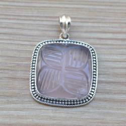 Gros pendentif carré argent ciselé pierre Quartz rose gravée