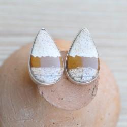 Boucles d'oreilles goutte pierre Jaspe mokaite argent