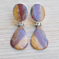 Boucles d'oreilles articulées 2 pierres Jaspe mokaite argent 925