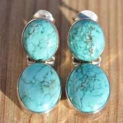 Boucles d'oreilles articulées duo pierres naturelles turquoise argent