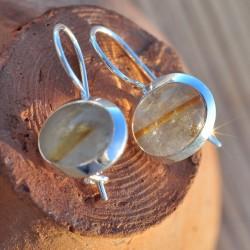 Boucles d'oreilles dormeuses pierre quartz rutile ovale argent