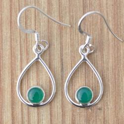 Petites boucles d'oreilles pierre ronde en Agate verte sur une monture fine en argent
