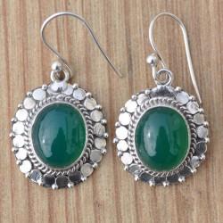 Boucles d'oreilles argent travaillé pierre Agate verte ovale
