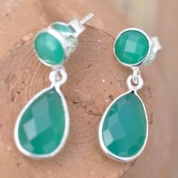 Petite boucles d'oreilles argent pendantes 2 pierres en Agate verte