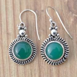 Petites boucles d'oreilles en pierre Agate verte ronde et argent torsadé