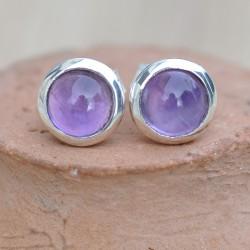 Petites boucles d'oreilles à clous en argent et en pierre Améthyste ronde