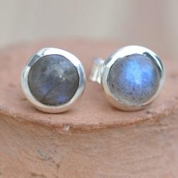 Petites boucles d'oreilles à clous en argent et en pierre Labradorite ronde