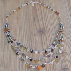 Collier argent 3 rangs en pierres et gouttes facettées Multicolores