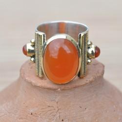 Bague anneau large pierre ovale cabochon en Cornaline T50/52/53/54/55/56/58