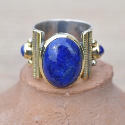 Bague anneau large argent pierre Lapis lazuli ovale cabochon T50/53/55/56/58