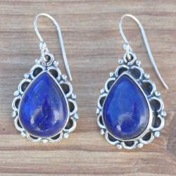 Boucles d'oreilles gouttes en argent ciselé en pétales et pierre Lapis lazuli