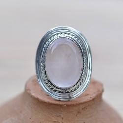 Grosse bague argent strié pierre ovale en Quartz rose