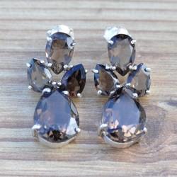 Boucles d'oreilles en argent et en quartz fumé facetté