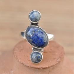 Bague en argent 3 pierres alignées en Lapis lazuli T54