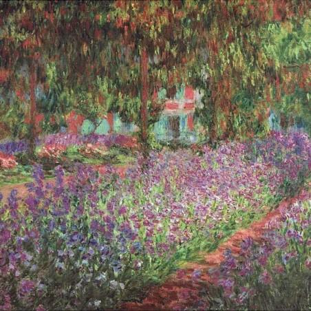 Boucles d'oreilles argentées émaillées champs de lavande de Monet
