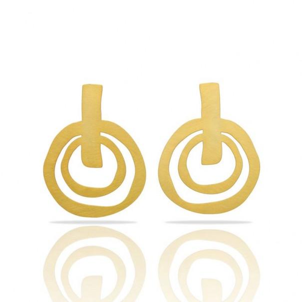 Grandes boucles d'oreilles dorées ethniques marque RAS