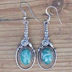 Boucles oreilles longues pierre Amazonite ovale argent ciselé