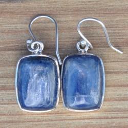 Boucles d'oreilles rectangulaires en pierre Cyanite sertie d'argent