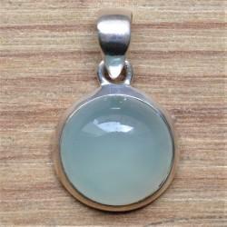 Pendentif argent pierre ronde en calcédoine agua
