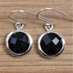 Boucles d'oreilles rondes en argent et pierre Onyx noir facettée