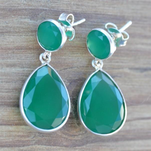 Grandes boucles en argent et 2 pierres Agate verte facettées