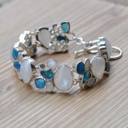 Gros bracelet argent 36 pierres naturelles Pierre de lune, Apatite et Topaze bleue