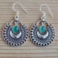 Boucles d'oreilles collerette argent et pierre en agate verte